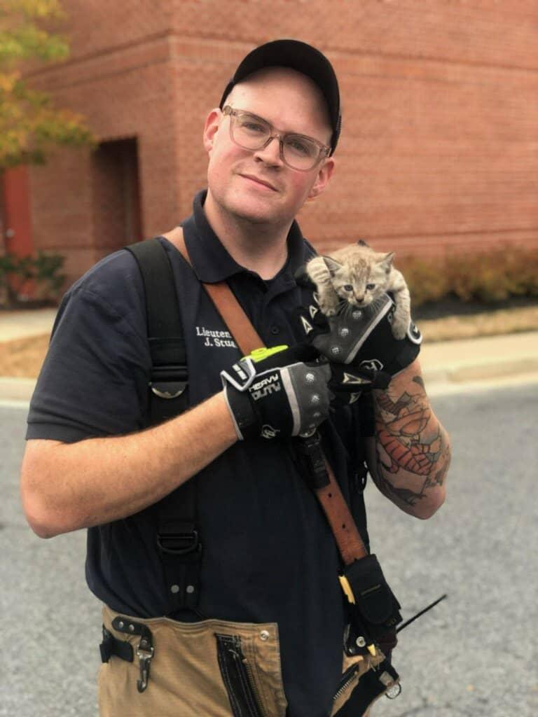 kitten and firefighter